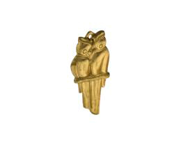 1 Brass Charms Love Birds Charm Stamped 30mm