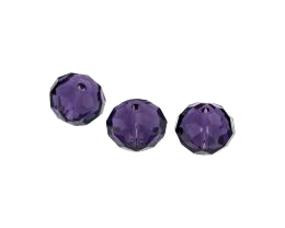 5 Crystal Beads Amethyst Glass Rondelle Bead 10mm