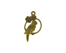 1 Metal Charms Antique Gold Bird Perch Charm 28mm