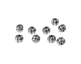 10 Acrylic Beads Antique Silver Melon Bead 6mm