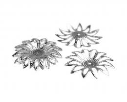 10 Flower Embellishments Silver Plated Filigree