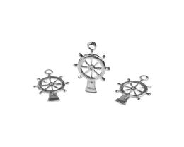 1 Metal Charms Silver Ships Wheel Charms 20mm