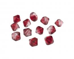 10 Glass Beads Siam Red Crystal Crackle Bicone 8mm