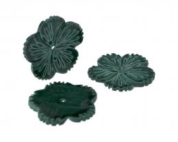 1 Dark Malachite Carved Shell Flower Beads 24mm