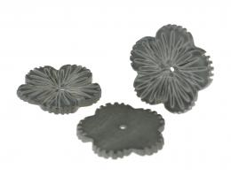 1 Grey Carved Shell Flower Beads 24mm