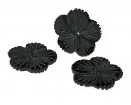 1 Black Carved Shell Flower Beads 24mm