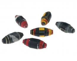 5 Handmade Paper Beads Upcycled Colour Splash 20mm