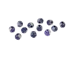 10 Vintage Acrlic Beads Purple White Rose Bead 5mm