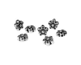10 Metal Beads Antique Silver Flower Bead 8.5mm