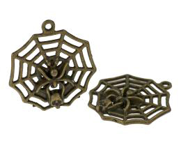 1 Metal Halloween Charms Bronze Spiders Web Charms 32mm