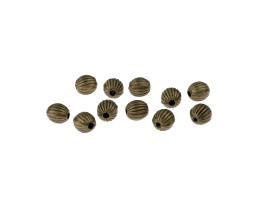 10 Metal Beads Bronze Ribbed Corrugated Bead 5mm