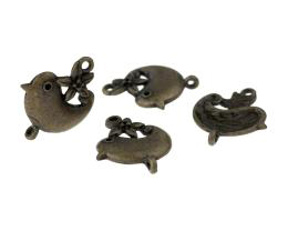 1 Jewellery Connectors Bronze Bird Flower 22mm