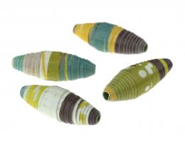 1 Handmade Paper Beads Downstream Large Ovals 30mm
