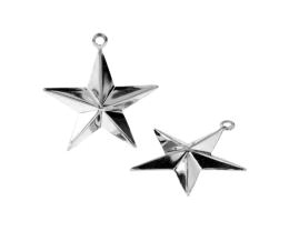 1 Metal Charms Silver Star Charm Bevelled 26mm