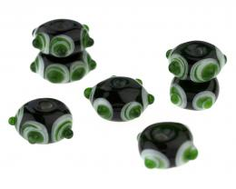 7 Handmade Lampwork Glass Beads Deep Forest 15mm