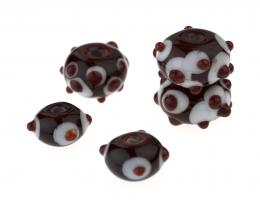 5 Handmade Lampwork Glass Beads Strawberry Creams