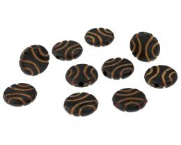 10 Vintage Acrylic Beads Brown Tribal Coin 12mm
