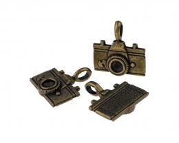 1 Metal Charms Bronze Camera Charm Cast 22mm