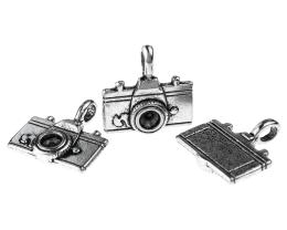 1 Metal Charms Silver Camera Charm Cast 22mm