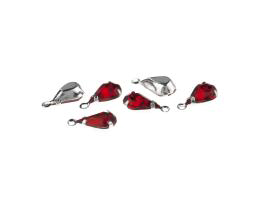 5 Drop Charms Red Faceted Glass Silver Plated 12mm
