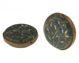 1 Handmade Polymer Clay Beads Deep Pool Florals
