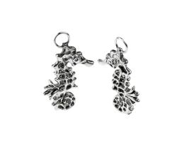 1 Handmade Pewter Charms Seahorses 30mm