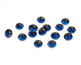 10 Glass Beads Midnight Crystal Rondelle AB 6mm