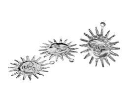1 Metal Charms Silver Sun Charms 25mm