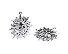 1 Metal Charms Silver Sun Charms 30mm