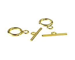 1 Toggle Clasps Gold Plated Ring Bar Clasp 19mm