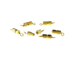 5 Barrel Clasps Gold Plated Screw Clasp 15mm