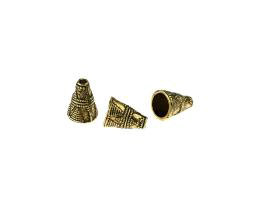 2 Cone Ends Antique Gold Bead End Caps 11mm