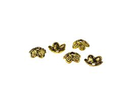 20 Bead Caps Antique Gold Flower Bead Cap 10mm
