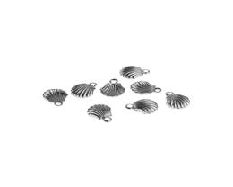 1 Metal Charms Silver Scallop Shell Charms 10mm