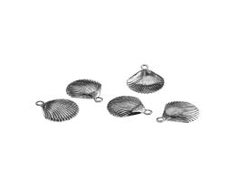 1 Metal Charms Silver Scallop Shell Charms 13mm
