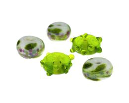 5 Handmade Lampwork Glass Beads Green Sparkles