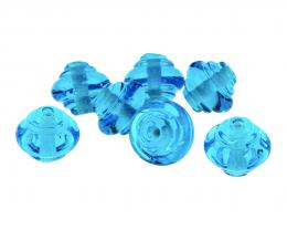 7 Handmade Lampwork Glass Beads Aqua Blue Set 16mm