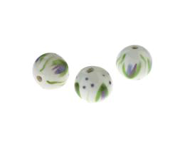 1 Handmade Ceramic Beads Madison Hand Painted 11mm