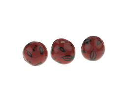 1 Handmade Ceramic Beads Glazed Russet Black 11mm