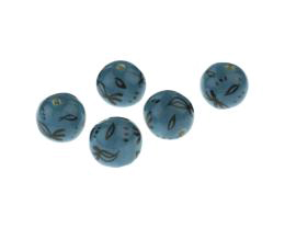1 Handmade Ceramic Beads Glazed Teal Black Pattern