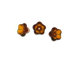 1 Czech Glass Beads Dark Topaz Flower Beads 10mm