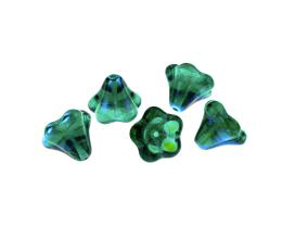 1 Czech Glass Beads Emerald Green Flowers AB 10mm