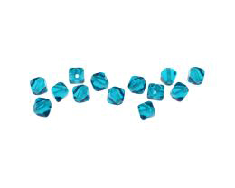 10 Czech Glass Beads Aqua Square Bicone Bead 6mm