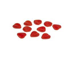 5 Czech Glass Beads Red Opaque Heart Leaf Bead 9mm