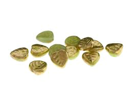10 Czech Glass Beads Green Gold Leaf Beads 9mm