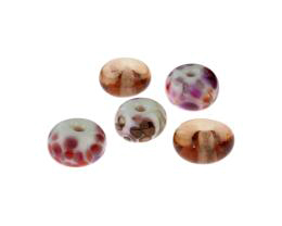 5 Handmade Lampwork Glass Beads Peachy Pinks 15mm