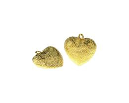 1 Metal Charms Gold Stardust Heart Charms 19mm
