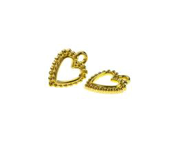 1 Metal Charms Gold Heart Charms Open 18mm