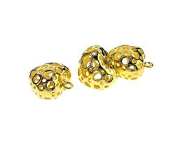 1 Metal Charms Gold Heart Charm Hollow 17mm