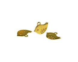1 Metal Charms Gold Bird Charms 12mm